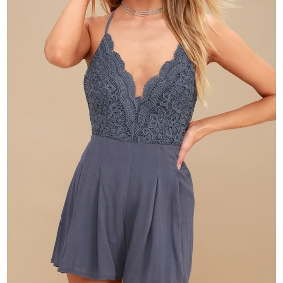 a502afe88b7e Lulu's Dresses | Navy Lace Short Flowy Romper With Open Back | Poshmark